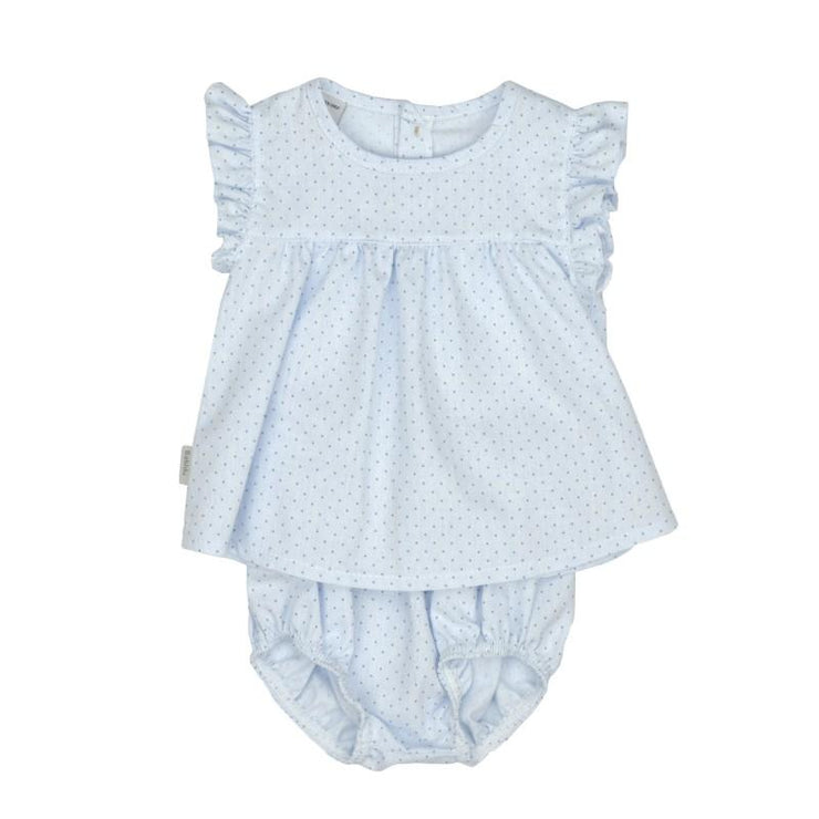 Babidu Blue Polka Dot Frill Dress & Knickers | Millie and John