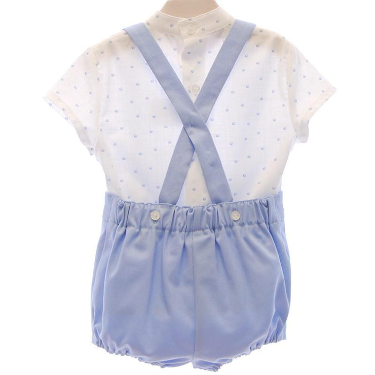 Del Sur Blue Polka Dot Shirt & Shorts with Braces | Millie and John
