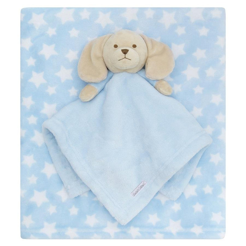Baby Town Blue Puppy Comforter & Blanket Set | Millie and John