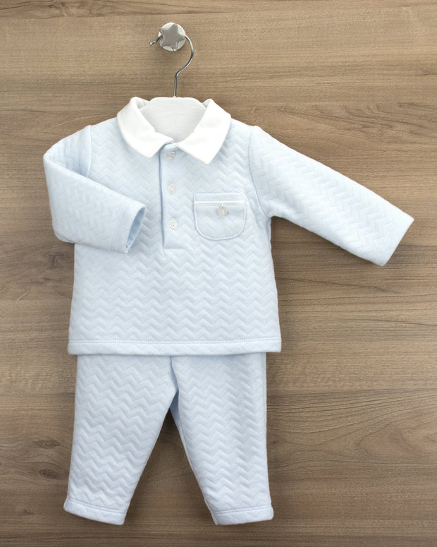 Babidu Blue Quilted Polo Shirt Tracksuit | Millie and John