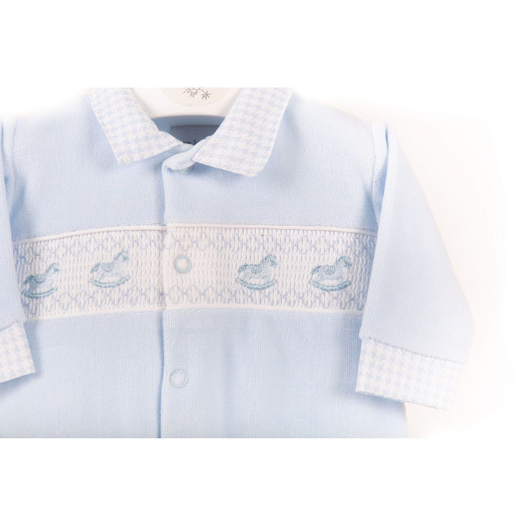 Dandelion Blue Rocking Horse Smocked Velour Sleepsuit | Millie and John