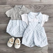 Outfit Set Blue Seahorse Dungaree Shorts & Bodysuit | Millie and John