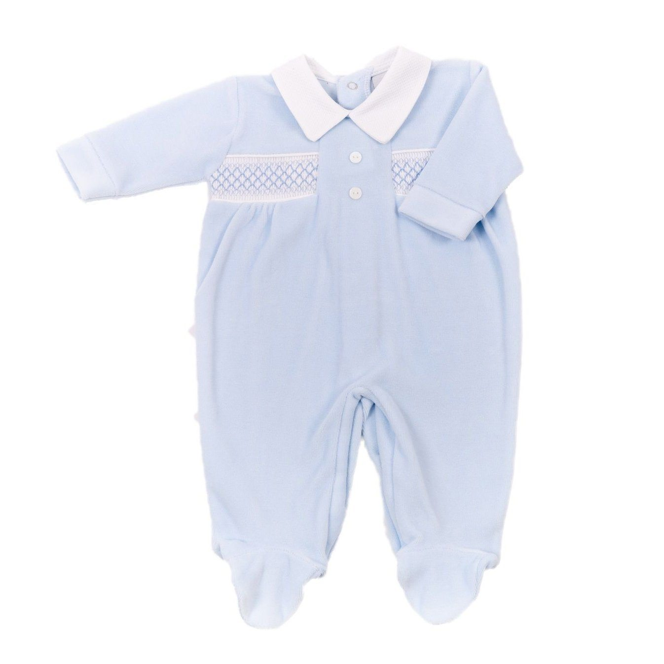 Dandelion Blue Smocked Velour Sleepsuit | Millie and John