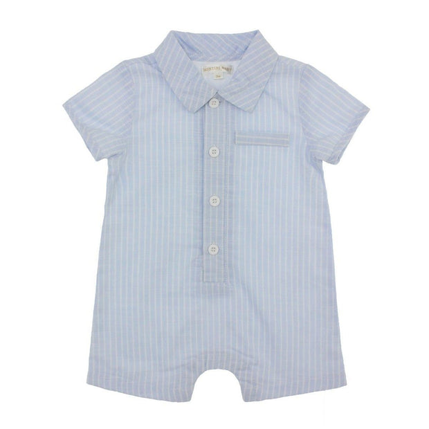 Mintini Baby Blue Striped Collared Romper | Millie and John