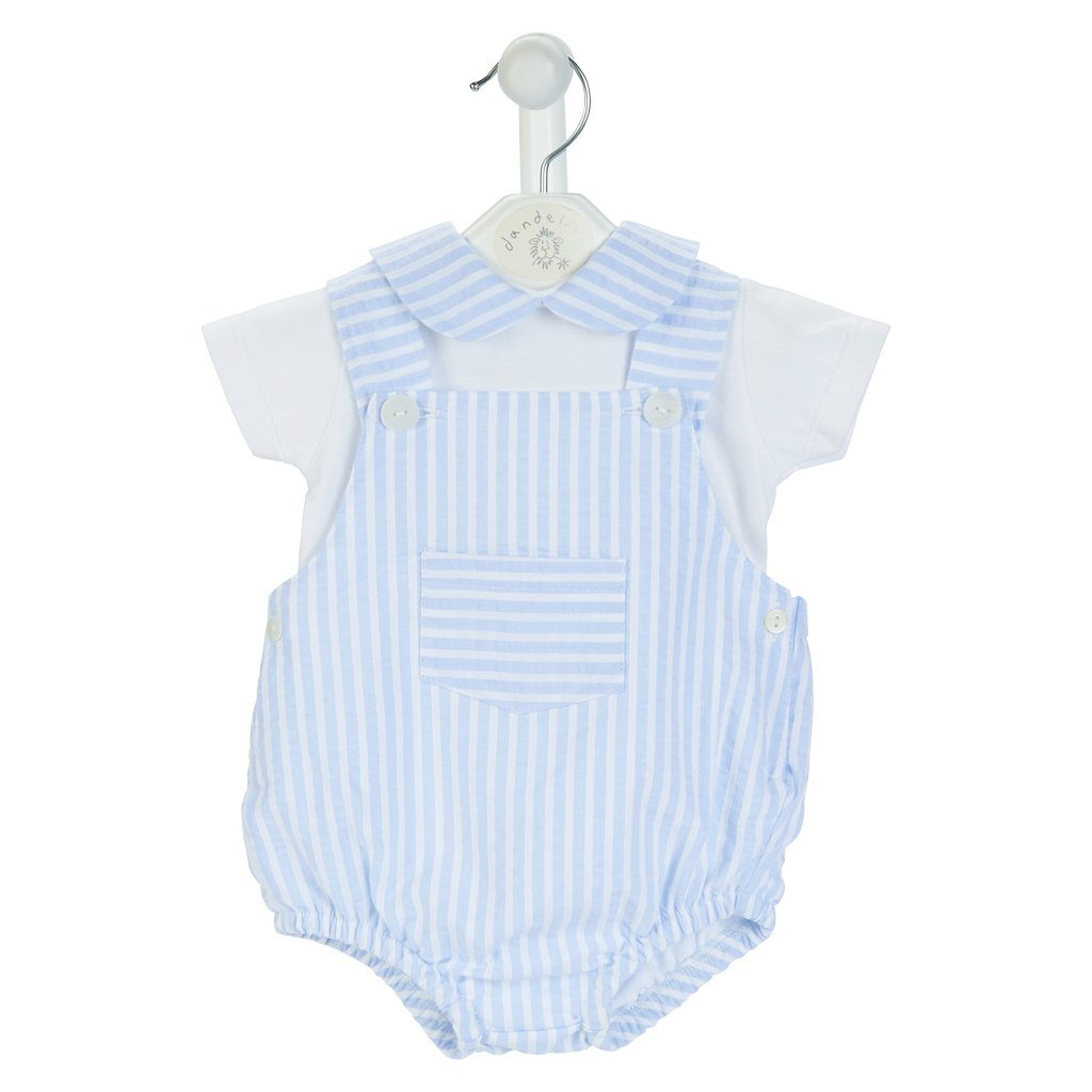 Dandelion Blue Striped Seersucker Dungaree Romper Set | Millie and John