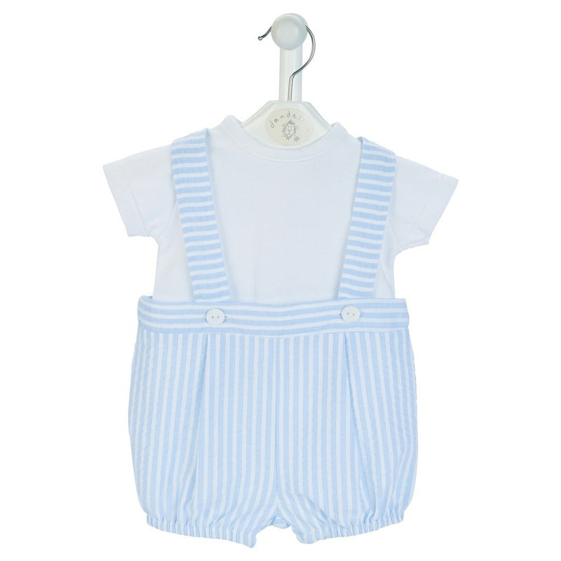 Dandelion Blue Striped Seersucker Shorts with Braces Set | Millie and John