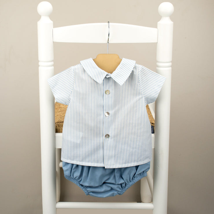 Babidu Blue Striped Shirt & Jam Pants | Millie and John