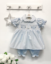 Caramelo Kids Blue Striped Smocked Blouse & Bloomers | Millie and John