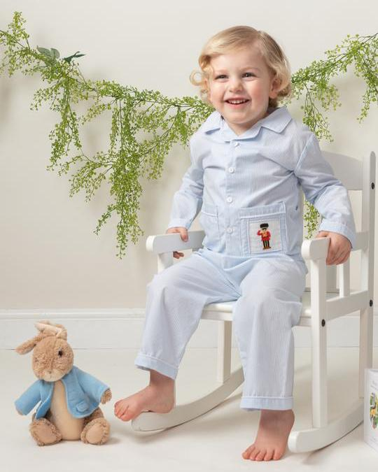 Caramelo Kids Blue Striped Smocked Pyjamas | Millie and John