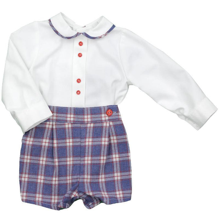 Baby-Ferr Blue Tartan Traditional Shirt & Shorts | Millie and John