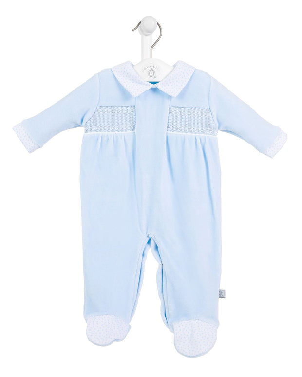 Dandelion Blue Velour Smocked Sleepsuit | Millie and John
