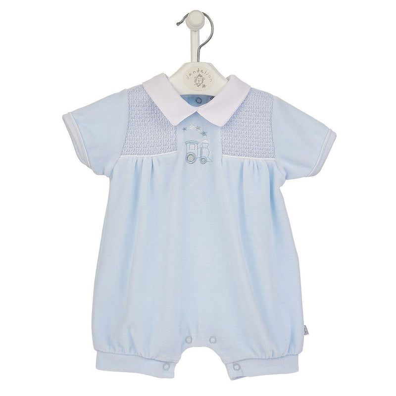 Dandelion Blue Velour Smocked Train Romper | Millie and John