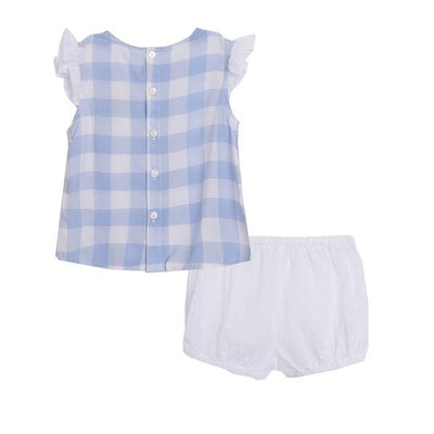 Newness Blue & White Checked Top and Shorts | Millie and John