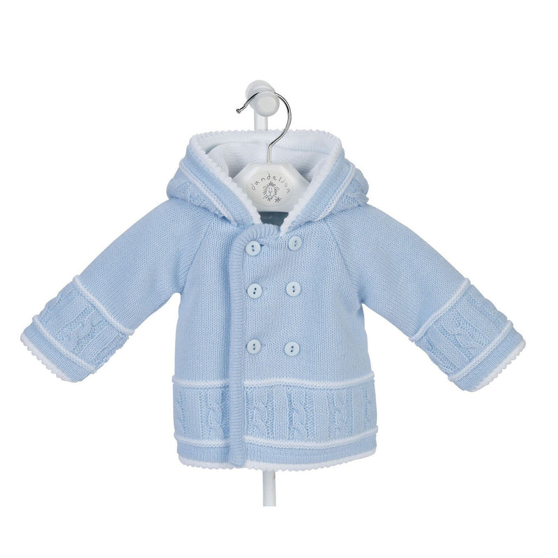 Dandelion Blue & White Knitted Hooded Jacket | Millie and John