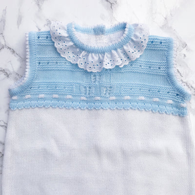 Felicia Blue & White Knitted Lace Romper | Millie and John