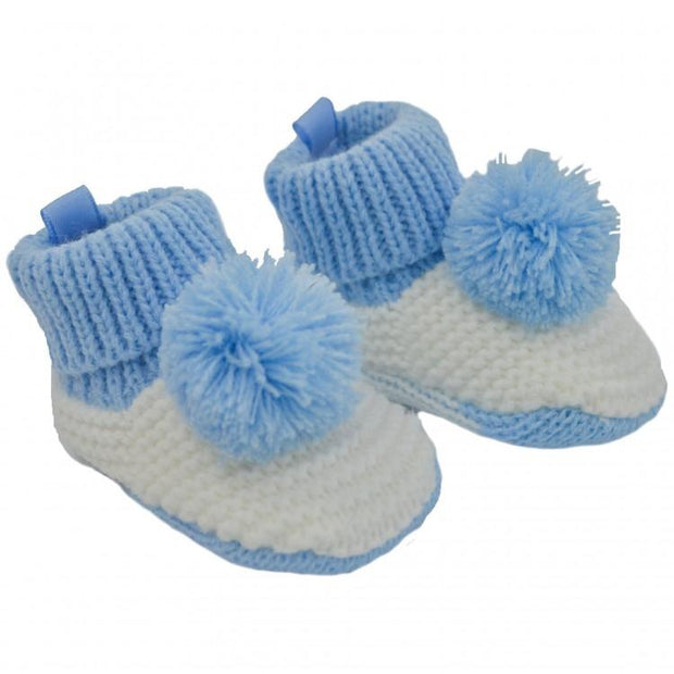 Soft Touch Blue & White Knitted Pom Pom Booties | Millie and John