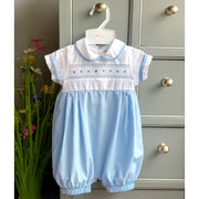 Rock-a-Bye Baby Blue & White Smocked Romper | Millie and John