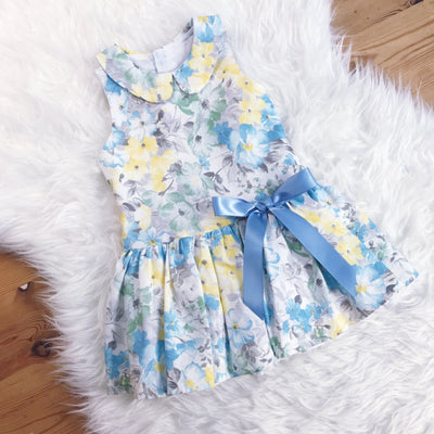 Quinper Blue & Yellow Floral Cut Out Back Dress | Millie and John