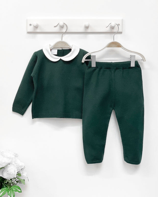 Granlei Bottle Green Classic Knit Top & Trousers | Millie and John