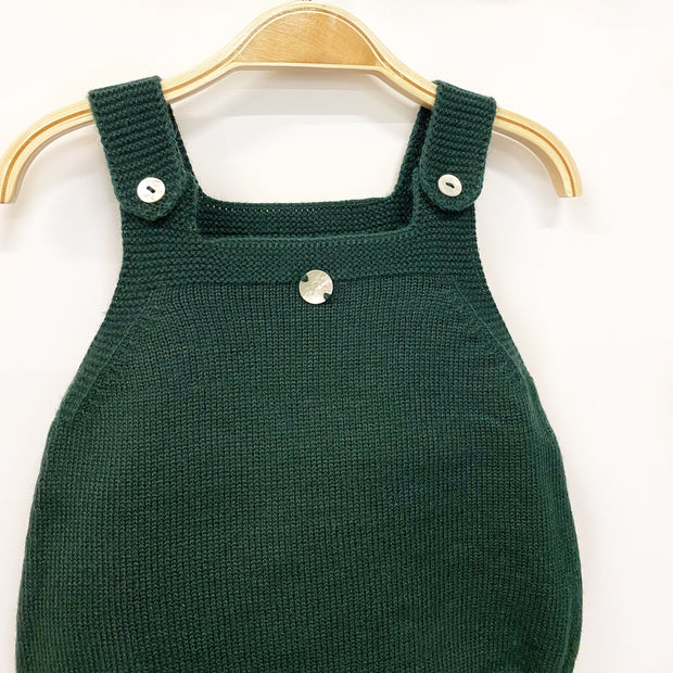Granlei Bottle Green Knitted Dungaree Romper | Millie and John