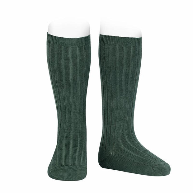 Condor Bottle Green Wide Ribbed Knee High Socks | Millie and John