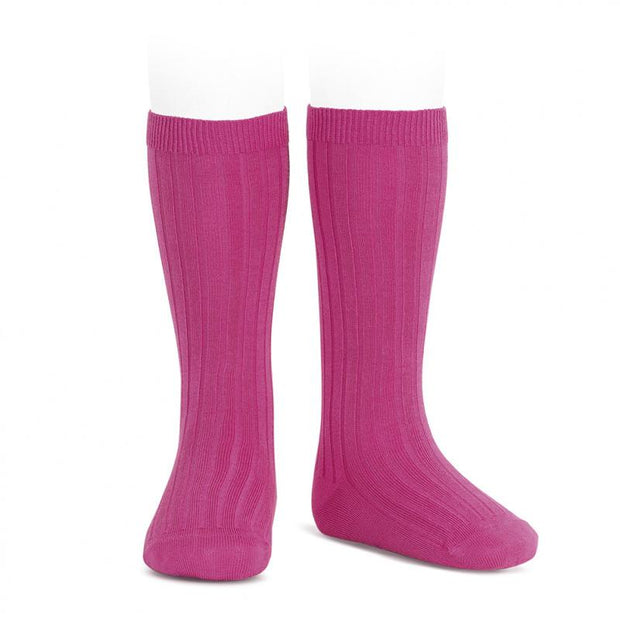 Condor Bougainvillea Wide Ribbed Knee High Socks | Millie and John
