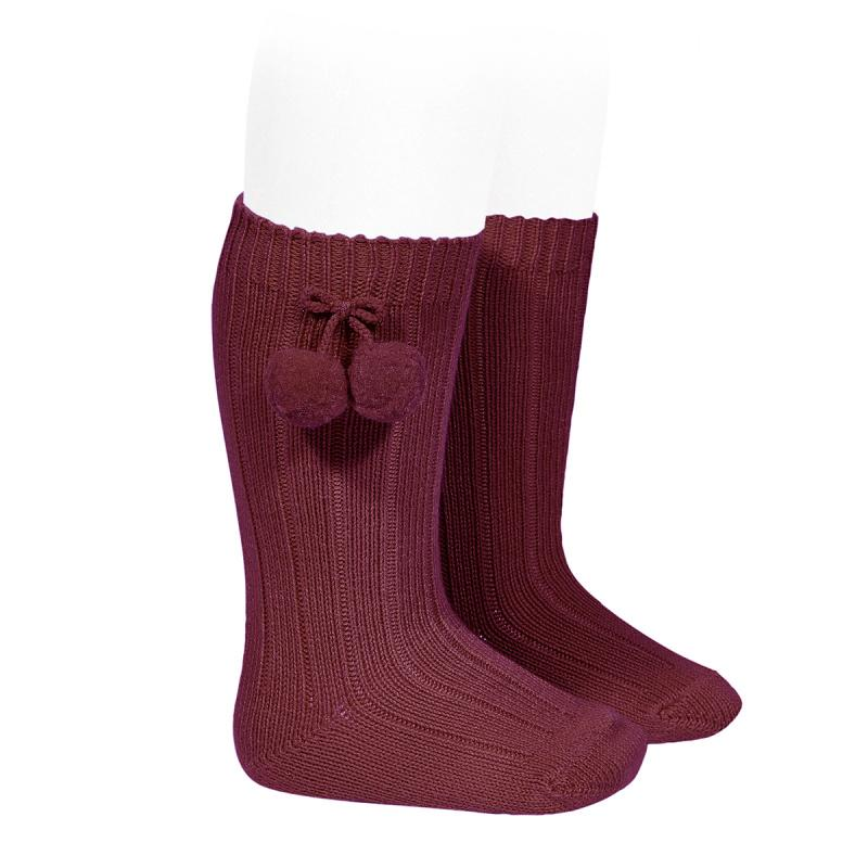 Condor Burgundy Knee High Pom Pom Socks | Millie and John