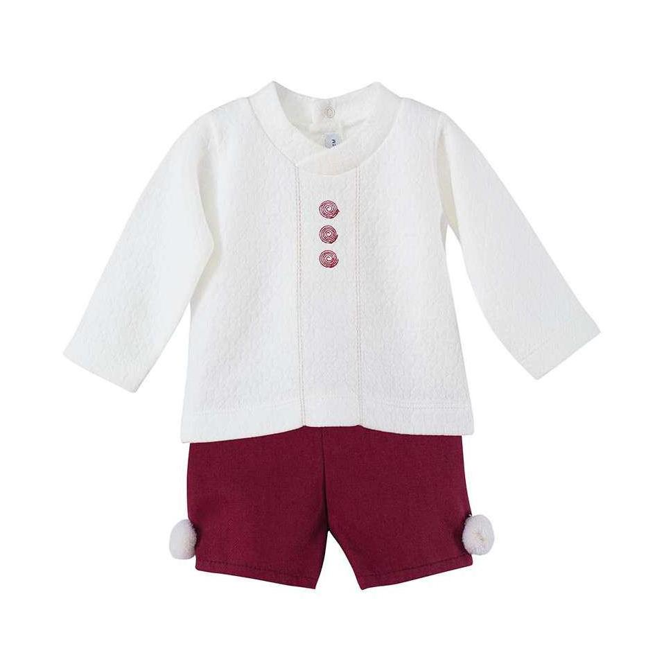 Calamaro Burgundy Shirt & Pom Pom Jam Pants | Millie and John