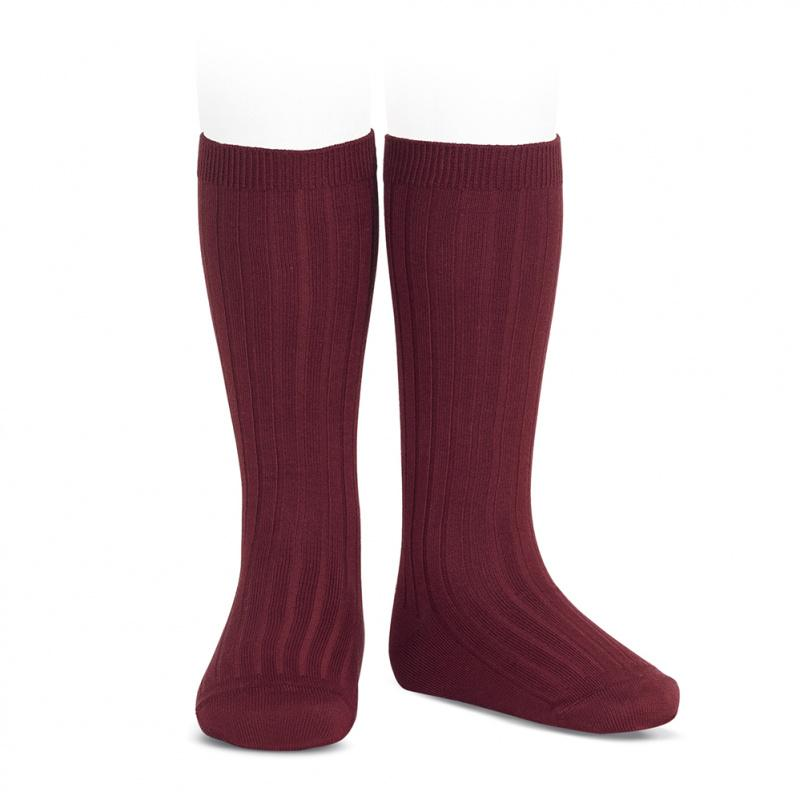Condor Burgundy Wide Ribbed Knee High Socks | Millie and John