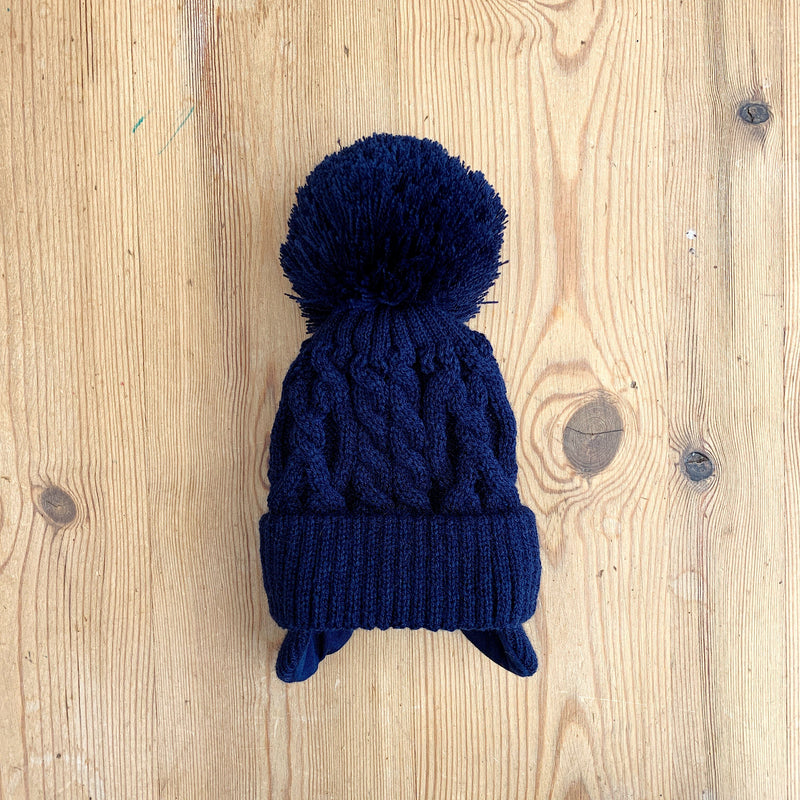 Little Nosh Cable Knit Pom Pom Hat with Ear Flaps | Millie and John