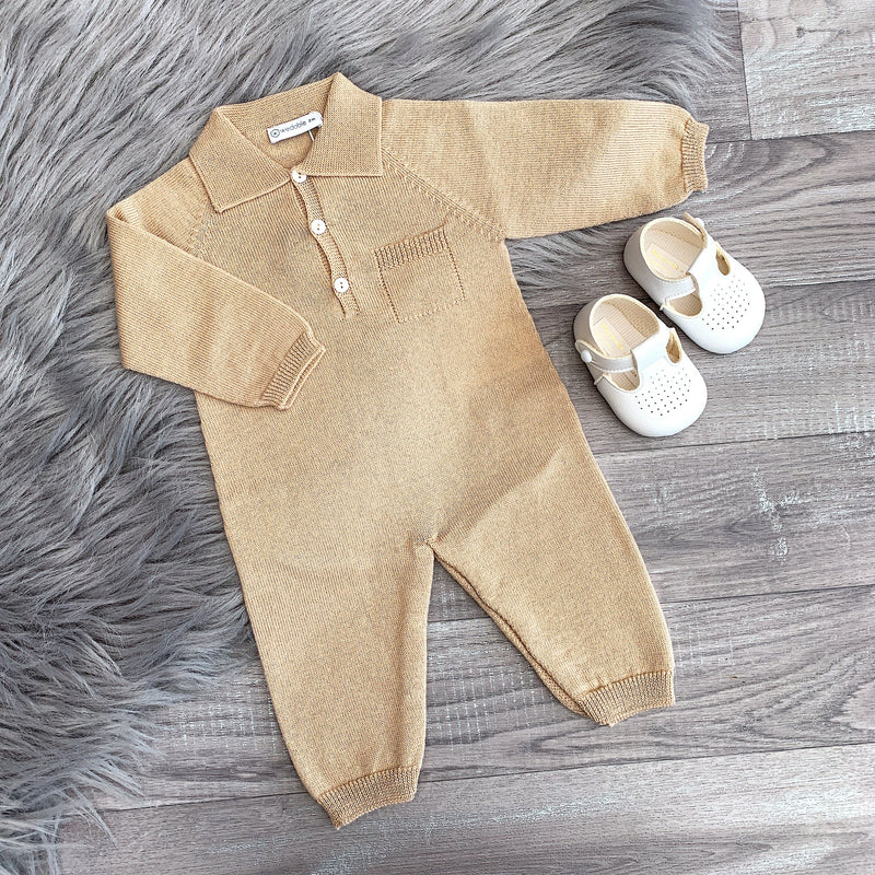 Wedoble Camel Knitted Collared Romper | Millie and John