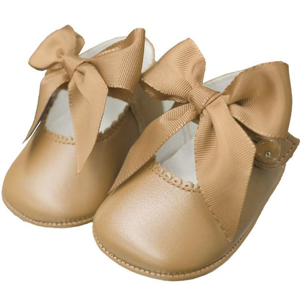 Top Baby Camel Leather Bow Soft Sole Shoes | Millie and John