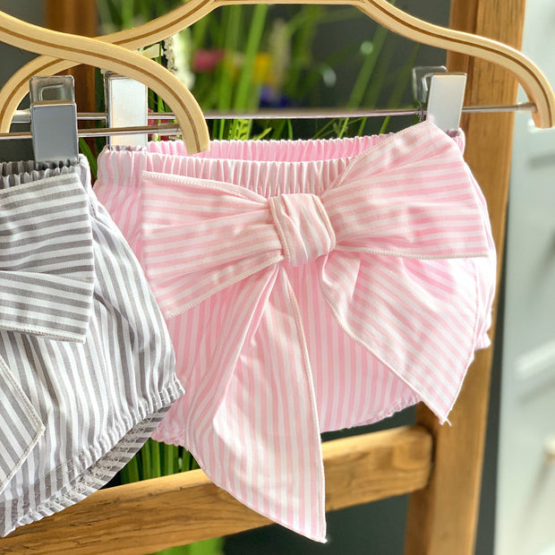 Calamaro Candy Stripe Bow Bloomers | Millie and John
