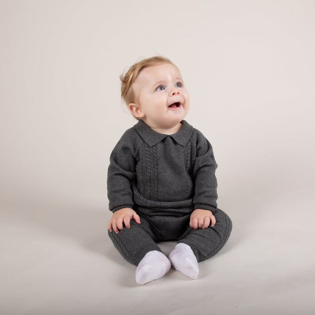 Caramelo Kids Charcoal Cable Knit Polo Shirt & Trousers | Millie and John