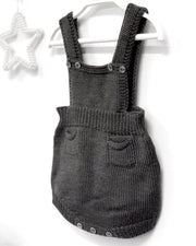 Wedoble Charcoal Wool Dungaree Romper | Millie and John