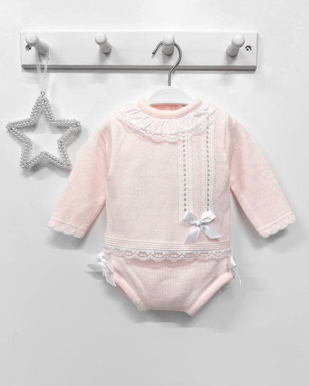 "Little Nosh ""Chloe"" Pink Knitted Top & Bloomers 