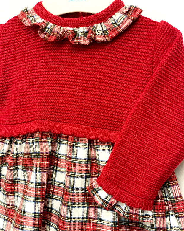 "Sardon ""Claudia"" Red Half Knit Tartan Dress 