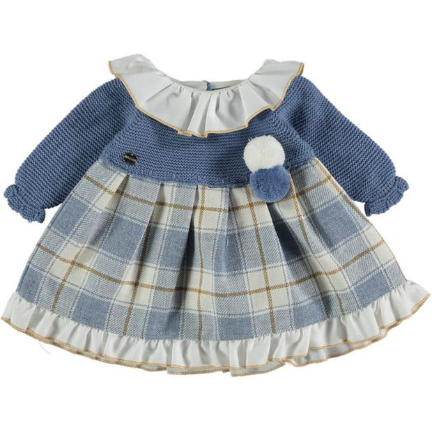 "Juliana ""Helena"" French Blue Half Knit Tartan Dress 