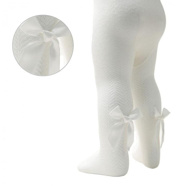 Soft Touch Cream Chevron Pattern Bow Tights | Millie and John