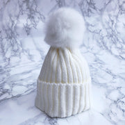 Millie and John Cream Faux Fur Pom Pom Hat | Millie and John