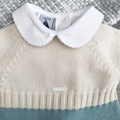 Wedoble Cream & Green Knitted Babygrow | Millie and John