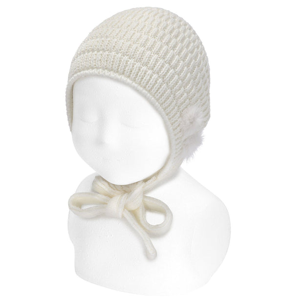 Condor Cream Knitted Bonnet with Pom Poms | Millie and John