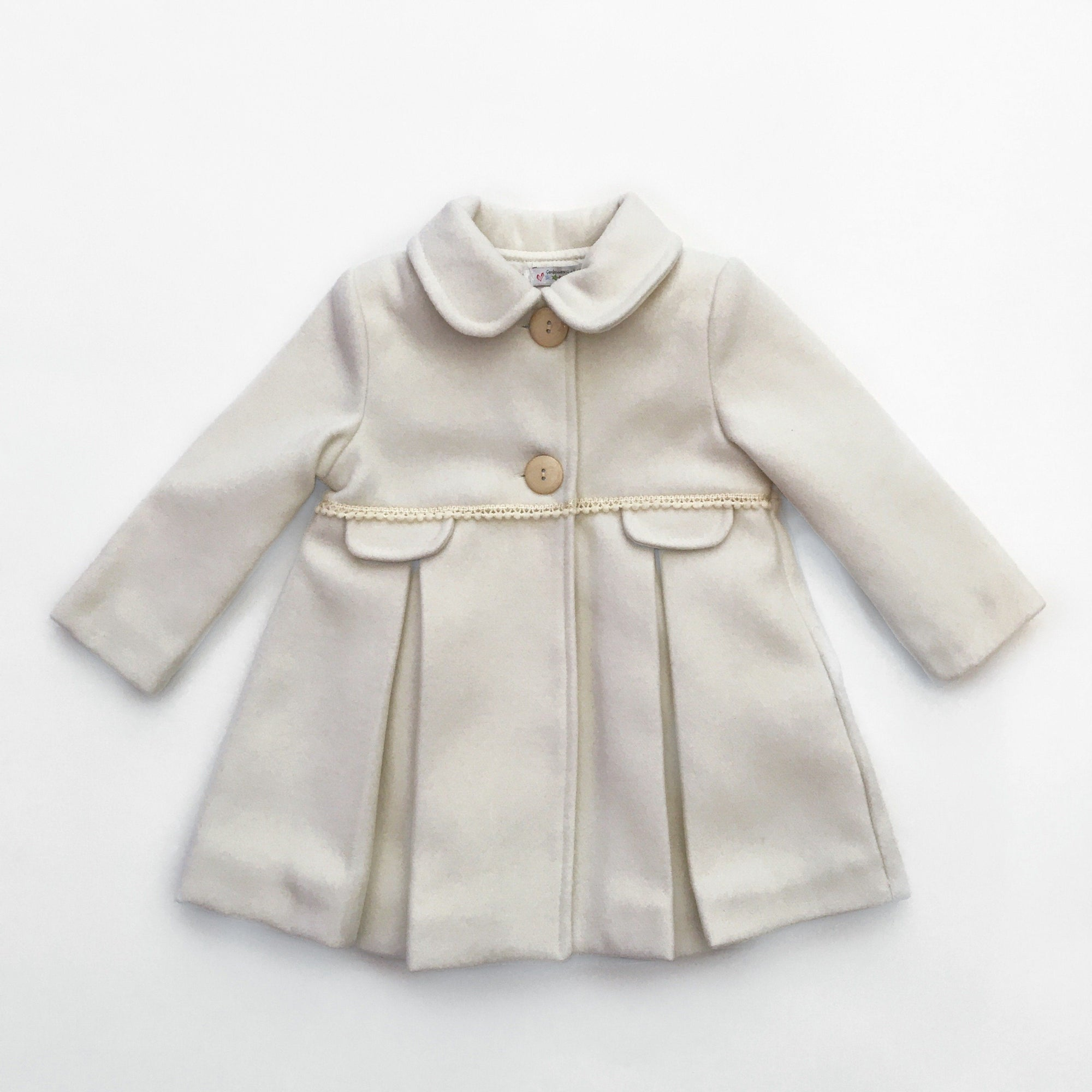 Alber Cream Pleated Braid Trim Coat | Millie and John