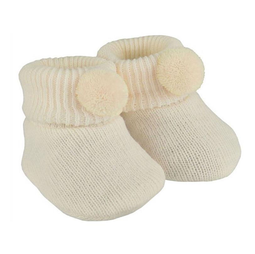 Soft Touch Cream Pom Pom Knitted Booties | Millie and John