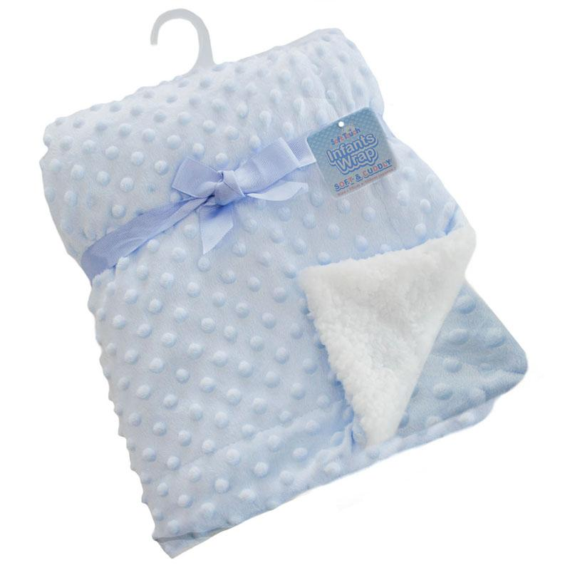 Soft Touch Deluxe Blue Bubble Mink Blanket Wrap | Millie and John