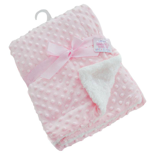 Soft Touch Deluxe Pink Bubble Mink Blanket Wrap | Millie and John