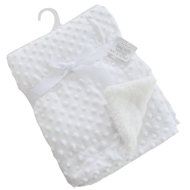Soft Touch Deluxe White Bubble Mink Blanket Wrap | Millie and John