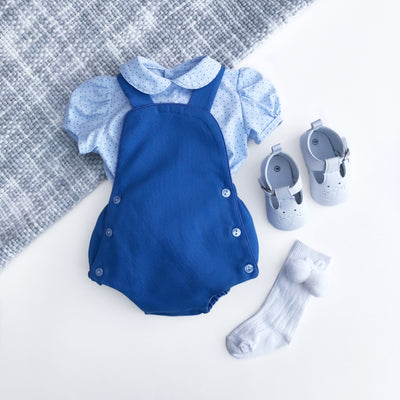 Baby-Ferr Denim Blue Dungaree Romper Set | Millie and John