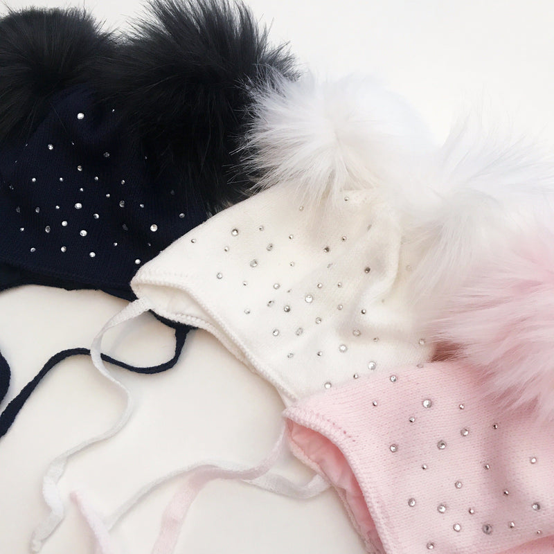 Kinder Diamanté Faux Fur Double Pom Pom Hat | Millie and John