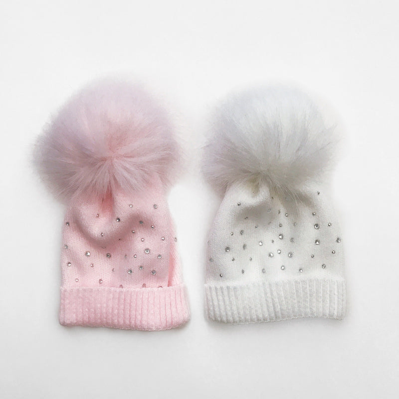 Kinder Diamanté Faux Fur Pom Pom Hat | Millie and John